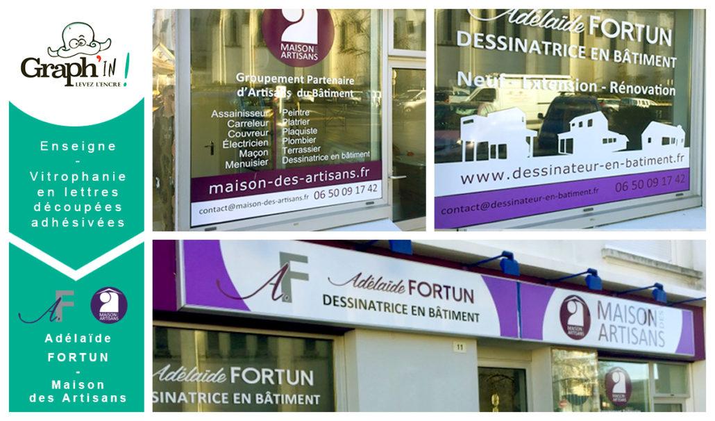 Enseigne et vitrophanie en lettres découpées - Adéalïde Fortun et Maison des Artisans