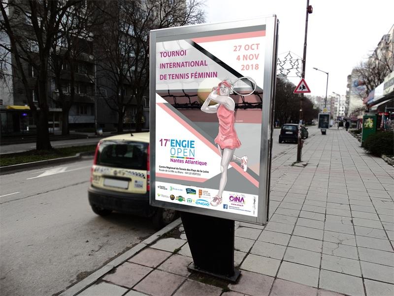 Affichage tournoi international tennis féminin