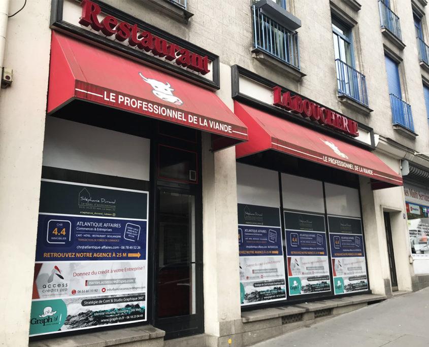 restaurant vitrine travaux adhésif temporaire nantes