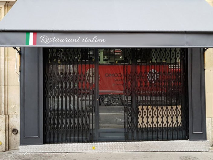 Lambrequin de store banne publicitaire pour le restaurant italien à Nantes
