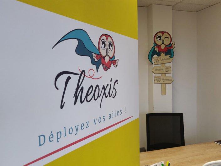 Signalétique adhésif et décoration intérieure en dibond pour Theoxis à Nantes